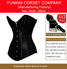 New Fully Steel Boned Extra Long Black Striped Jacquard Tight Lacing Corset 5075