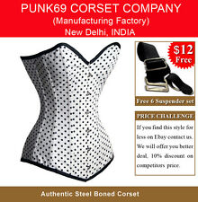 Long Steel Boned Black Polka Dot on white Tight Lacing Corset EB-9051 Overbust