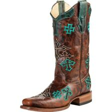 Corral Women's Square Toe Cowboy Western Boots Whiskey/Turquoise Cross R1028