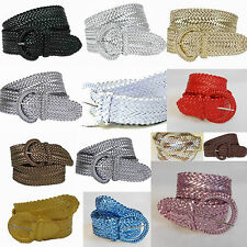 Woman Teen Girl Fashion Trendy Metalic Braided Wide Belt Wholesale 3002 13 color