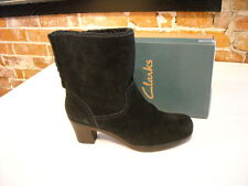 Clarks Dream Darling Black Suede Fur Cuff Ankle Boots