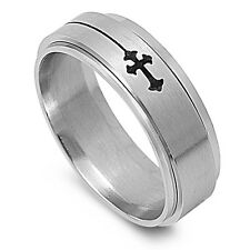 Stainless Steel Religious Cross Spinner Style Ring Size 7-14 NEW