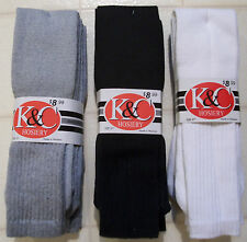 "Tube Socks Over the Calf 27""  White ,Gray or Black  3 pair  Size 10-18"