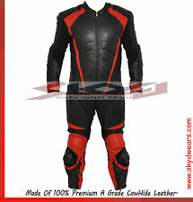 Motorcycle biker Black & Red One piece Leather Suit  with Hump.