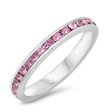 .925 Sterling Silver Eternity Ring with Pink CZ - Available in Sizes 3 to 12 NEW