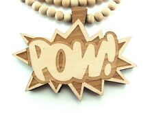 """Wooden POW Pendant Piece 36"""" Chain Necklace Good Quality Wood Chris Brown Style"""