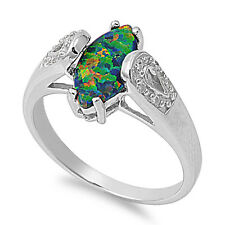 Sterling Silver Marquise Cut with Black Opal and Clear CZ Ring Size 5 6 7 8 9 10
