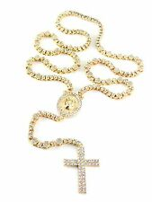 Fully Iced Out Simulated Diamond Jesus Rosary Chain Necklace 2 Row Cross HipHop