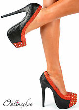 WOMENS LADIES BLACK RED GLITTER GOLD SPIKE STUD STILETTO HEEL PLATFORM SHOES 3-8