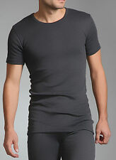 Mens Heat Holder Thermal Short Sleeve Vest T Shirt Charcoal Grey
