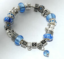 EUROPEAN STYLE CHARM BRACELET with BEADS baby Mother's Day blue