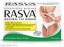 RASVA Natural Fat Binder Weight Loss 60 or 120 Capsules - Clinically Proven!