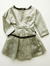 Ses Petites Mains Silver Taffeta Silk Special Occasion Dress Sizes 2T-6 $125