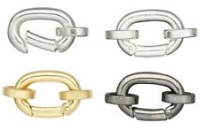 2 Plated Hinged Bails with Jumprings 14x10mm ~ Gold Silver Or Gunmetal