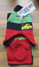 BABY BOYS 3 PIECE BOBBLE HAT SCARF AND MITTENS SET WINTER  BLUE TRUCK 1-2 YEARS