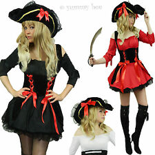 Pirate Fancy Dress Costume Size 6 8 10 12 14 16 18 Ladies Wench Captain Womens