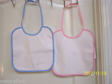 BOY'S OR GIRL'S BLUE OR PINK BIB PERSONALIZED  WITH FIRST AND MIDDLE NAMES