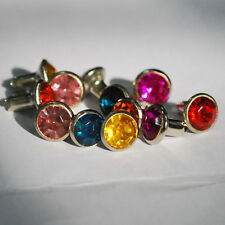 10x 7mm Clear Red Pink Blue Yellow Brown Green Rose DIAMANTE RIVET Diamond Denim