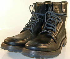 John Varvatos Tahoe Moc Toe Work Boot Black Leather Hand Made in Italy