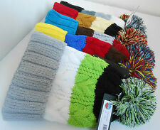 MEN&WOMEN FOLD UP MULTI COLOUR POM POM FASHION WOOLY CABLE ROPE KNIT BOBBLE HAT