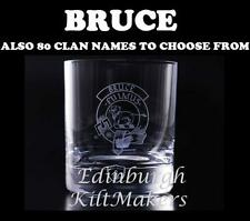 BRUCE CLAN CRESTED CRYSTAL WHISKEY GLASS BURNS CRYSTAL WHISKY GLASSES