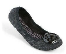 Lindsay Phillips Gray Flannel LIZ Ballet Flats Shoes Interchangeable Snap 6.5