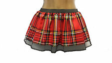 "10"" Red Tartan Tutu School Girl Skirt Kilt Burns Night Hen Party Fancy Dress BT"