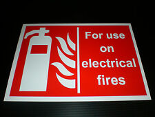 FOR USE ON ELECTRICAL FIRES sign fire extinguisher Plastic , Sticker or Holed FP