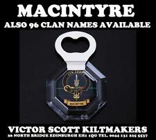 MACINTYRE CLAN CRESTED TARTAN MAGNETIC BOTTLE OPENER 96 DIFFERENT CLAN NAMES