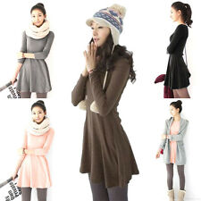 Fashion Casual Skirt Round-Neck Long-sleeved Cotton Lady Dress 8 Colors Free Y20