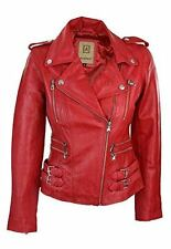 100% Ladies Real Leather Jacket Short Fitted Bikers Style Retro Red Rock