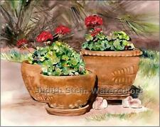 "FLOWER PATIO POTTERY ""Red Geraniums"" Watercolor Painting Art Print JUDITH STEIN"