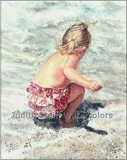 "GIRL SEA BEACH COMBER ""Sea Freedom"" Watercolor Painting Art Print JUDITH STEIN"