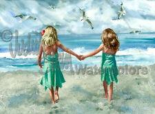 "BEACH GIRL FRIENDS  ""Rompin' Room"" Watercolor Painting Art Print JUDITH STEIN"