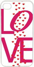 Valentine's Pink Love Text with Raining Hearts iPhone 4 4s Case Cover