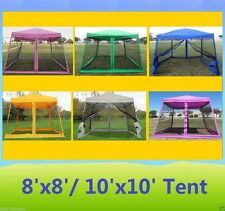 8' x 8' / 10' x10' Pop Up Canopy Party Tent Gazebo EZ w Net - 6 Colors Available