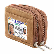 Double Security Zip Around Fan Wallet-Suede