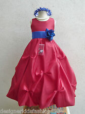RED ROYAL BLUE TURQUOISE OLIVE TEAL GREEN FLOWER GIRL DRESS 2 4 6 8 10 12 14