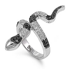 .925 Sterling Silver Fashion Snake Ring with Clear and Black CZ Sz 5 6 7 8 9 10