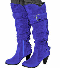 New women's shoes high shaft knee high boot royal blue high heel suede like