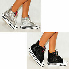 FASHION SILVER GOLD BLACK METALLIC HI TOP FLATFORM TRAINERS HIGH WEDGE SNEAKERS