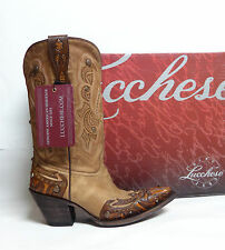 Lucchese Ladies Western Boots M5705 Hand Tooled Camel Tumbled Aspen Made in USA