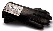 Nordvek Mens Sheepskin Lined Black Real Leather Gloves NWT New 302-100