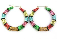 BLING BASKETBALL WIVES POPARAZZI HIP HOP INSPIRED SPANGLE ROUND HOOP EARRINGS
