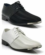 NIB Men Dress Formal Wedding Tuxedo Shoes Patent Fabric Croco Metal Head JY2