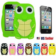 Cute Cool Turtle Silicone Back Case for Apple iPhone 4 /4s + Free Protector