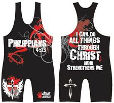 Philippians 4:13 RED sublimated wrestling singlet - Youth, Boys, Kids, Men's