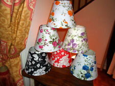 CABBAGE ROSE TAPERED SHABBY CHIC LAMPSHADE pink blue orange purple red or black