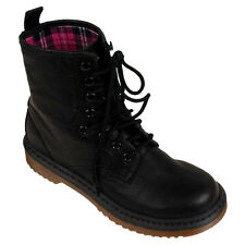 Womens Lace Up Military Ankle Boots Ladies Combat Black Punk Shoes Mod Boot