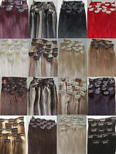 "15""20""22""26""28""32""36"" 7PCS Clip In 100% Remy Human Hair Extensions 75g 105g 140g"